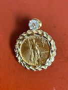 5 Gold Eagle 1/10th Ounce In 14k Gold Bezel With Diamond Earring