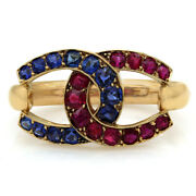 Vintage Ruby And Sapphire Pearl Shortener In 21k Yellow Gold