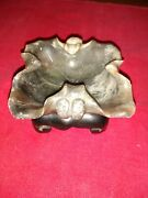 Rare Jade Carved Turtle Ash Tray/wooden Stand Antique