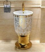 Pedestal Sink Ceramic With Stand Wash Basin Mosaic Gold Cup Round Bathroom Tools