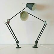 Pair Of Vintage Planet Industrial Machinist Anglepoise Wall Bedside Lamps Lights