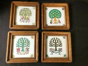 Set Of 4 Antique Ceramic Tile . Westraven Holland . The Four Seasons . Marked