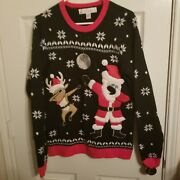 Womens Jolly Sweaters Ugly Christmas Sweater Santa And Reindeer Dabbing Size S