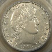 1908-s Barber Half Dollar 50c Pcgs Certified Au50 Nice Coin In An Older Holder
