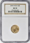 2005 5 1/10 Oz American Gold Eagle Ngc Ms70 Perfect Low Population