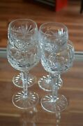 Beautiful Set Of 4 Waterford Crystal Ashling Wine Hock Glass Goblets Euc