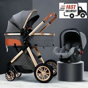 Luxury Baby Stroller 3 In 1 With Car Seat Portable Reversible High Landscape