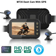 3 Gps Hd 1080p Motorcycle Dash Cam Car Mirror Wide Angle Camcorder Dvr Driving