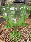 🍃🌼7 + 1 Free Anchor Hocking Green Depression Glass Circle Goblets, 5 7/8 🍃
