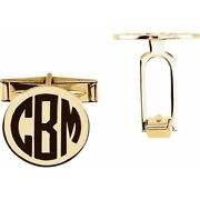 Monogram Cuff Links Round 14k Solid Yellow Or White Gold 7 Grams