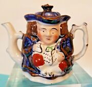 """Antique Allerton Miniature Double Sided Toby Teapot - 3⅛"""" High - England"""