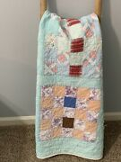 Vintage Quilt 25 Patch Aqua Border 74x88 Hand Quilted Cutter Display Repurpose