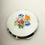 Vintage Floral Guilloche Enamel Sterling Silver Powder Compact 1950's