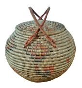 Antique Coiled Basket - South American Toluca Valley - Pictorial Old Mexico