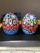 Two Vintage Millefiori Egg Shaped Paperweights
