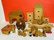 Lot Wooden Vintage Pull Unpainted Toys ++ Elephant Duck ++1970s