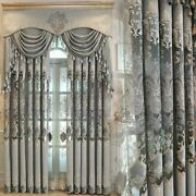 Luxury Gray Curtains European Style Chenille Embroider Fabric Living Dining Room