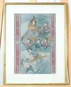 Vguc Antique 18th/19th C. Thailand Framed Hand Painted Elephant On Fabric 2