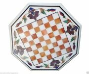 White Mable Dining Chess Table Top Carnelian Mosaic Floral Inlay Precious Decors