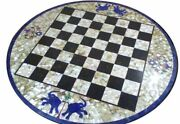 White Round Chess Marble Table To Mop Lapis Handmade Inlay Art Playing Room Deco