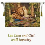 Leo Lion And Girl Palm Monstera Sculptures Woven Tapestry 20x28 Wall Tapestry