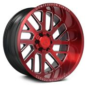 Axe Ax2.2 Compression Forged Wheels 22x12 -44 6x139.7 87.1 Red Rims Set Of 4