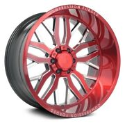 Axe Ax1.2 Compression Forged Wheels 22x12 -44 8x165.1 Red Rims Set Of 4