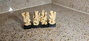Vintage 4pc Resin Mounted Monk Figures Figurines 4 Made In Italy