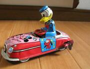 Disney 1950and039s Donald Duck Wind-up Driver Car World Doll Linemar Marx Length 17cm
