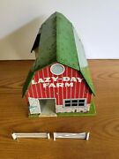 Mid-1950's - Marx - Tin Litho Lazy-day Farms Barn With Fencing