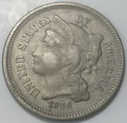 1866 3 Cent Nickel Full Liberty With Coin Details Sharp And Very Clear