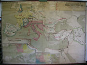 Schulwandkarte Europa Germanic Hiking Nations Rome Map 83 1/2x60 5/8in Vintage