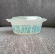 Vintage Pyrex Turquoise Butterprint Round Refrigerator Dish And Lid 470, 24oz