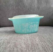 Vintage Pyrex Turquoise Blue Round Refrigerator Dish And Lid 473, 1 Quart