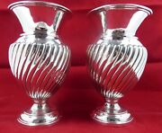 Solid Silver Pair Of Victorian Vases