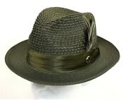 Menand039s Dress Casual Fedora Summer Straw Hat Olive Green Ju-908 100 Poly Braid