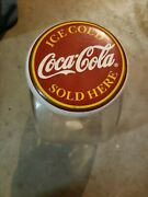Coca Cola Glass Cookie/candy Jar Canister Vintage Red Clear, Soda Top Lid Cover