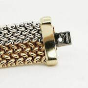 Two-tone Mesh Bracelet In 18k White And Yellow Gold - 14mm Wide