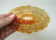 Vintage Northwood Carnival Glass Marigold Grape And Cable Pin Tray