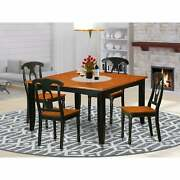 Black/cherry Finish Rubberwood Dining Table With 4 Dining Wood Seat Pfke5-bch-w