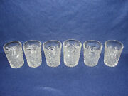 Set Of 6 Vintage American Brilliant Cut Glass Whiskey Tumblers Glasses