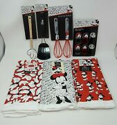 Lot Of Disney Mickey And Minnie Kitchen Utensils Towels Whisks Spatulas And Clips