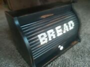 Vintage Roll Top Bread Box Wooden Painted Country Farmhouse Black Distressed