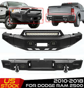 Front Or Rear Bumper Winch W/light Bar And D-rings For 10-2018 Dodge Ram 2500 3500
