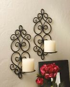 Set Of 2 Pretty Swirling Metal Scrolls Hanging Wall Candle Sconce 13.1 Tall New