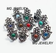 1000 Pcs Lot Mix Gemstone 925 Sterling Silver Plated Hand Shaped Rings