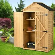 5.8ft X 3ft Outdoor Wood Lean-to Storage Shed Tool Organizer Lockable 3-tier Us