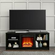 Tv Stand For Tvs Up To 65 Black Oak Mainstays Modern Look Cozy Feel Fireplace