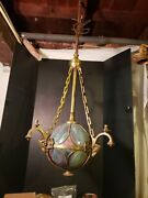Killer Victorian Stained Glass Ball And Bronze Chandelier Rams Heads Gas Andelectric