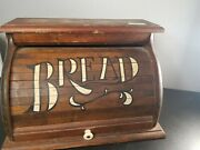 Vintage Wood Roll Top Bread Box Rustic Wooden Box Large
